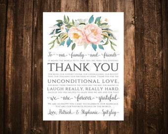 Blush & Blue Floral Thank You Card; Printable or set of 10