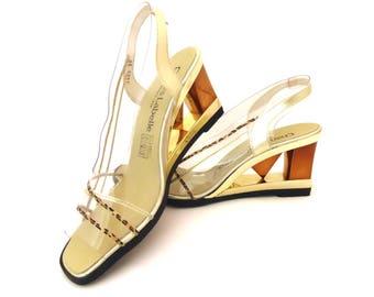 EXCEPTIONAL 80s PVC Heeled Sandals, Vintage wedge, 80s, Sling backs, Vintage high heels, Statement Heels, Gold Shoes, Party Shoes