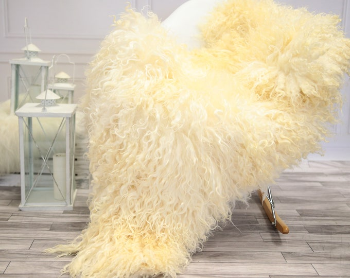 Genuine Rare Gotland Sheepskin Rug - Curly Fur Rug - Natural Sheepskin - Ivory Sheepskin #DECGOT20