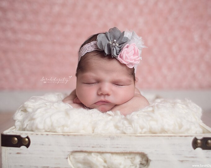 Cluster Flower Headband in Pink, Gray and White on Pink Stretch Lace - for newborn photo shoots or everyday wear, layers of sheer organza
