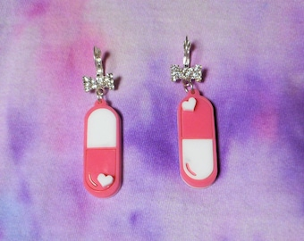 Pink & White DRIVE ME CRAZY Acrylic Pill Earrings with Silver Rhinestone Bow Wrap Around Earring Hooks // French Ear Wire