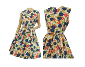 Sundress Vintage 50s Day Dress Floral Print Cotton Sleeveless Sun Dress Pleated Skirt Navy Blue and Red