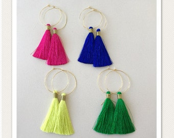 26 Colors / Long Silk Tassel/ Tassel Earrings/ 1.5 inch Hoop/ Gold Hoop Earring/ Tassel Hoop Earrings/ Lightweight