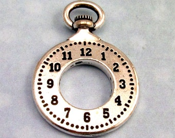 Clock Pendant, Antique Silver, TierraCast TS52