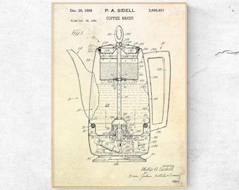 Barber wall art patent print apron art apron print coffee maker patent print coffee wall art teapot blueprint kettle coffee lover gift kitchen malvernweather Choice Image