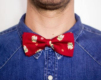 Chinese Maneki neko Cats-bow-tie in cotton