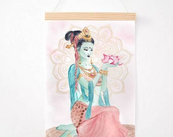 "Print 21 x 30 A4 Illustration Tara • green watercolor • ""Goddess Tara"" High quality 220gr Watercolor illustration Design • • •"