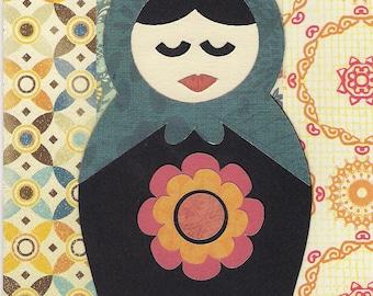 Russian Doll Blank Greeting Card