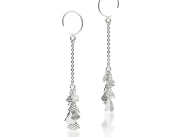 Silver dangle earrings with diamond shape elements - long, elegant and sophisticated earrings - round hooks