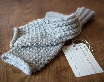 100% Wool & Alpaca Hand Knitted Arm Warmers, Grey Arm Warmers, Hand Knitted Cuffs, Gift Idea