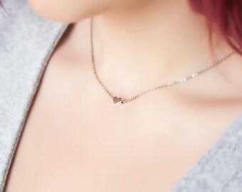 Tiny Silver Heart Necklace, Tiny Hearth Necklace, Minimalist Silver Necklace, Silver Heart Necklace, Minimalist Silver Jewelry, Gift for Her