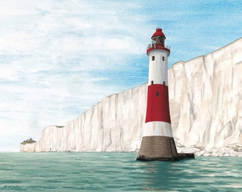 Beachy Head Lighthouse print, mounted and signed by artist