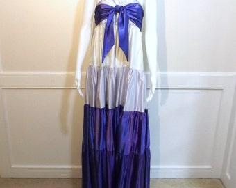 Purple Satin Maxi Dress Medium to Large