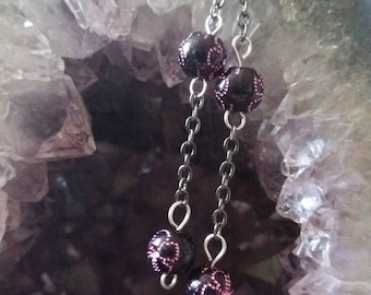 black beads and black chain hook earrings
