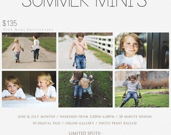 Photography Session Template / Summer / Spring / Lifestyle / In-Home / Newborn / Family