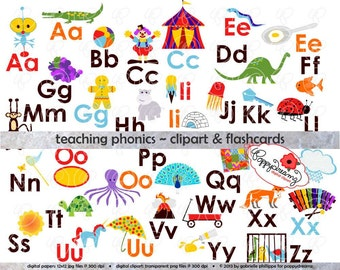 Teaching Phonics Clipart & Digital Flashcards: Digital Image Set (300 dpi) School Teacher Clip Art Early Reading Flashcards Picture Alphabet