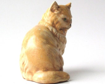 Vintage Ceramic Cat Figurine, kitty cat figure, feline, pets, 1970s kitten