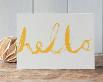 Say hello, miss you card, hi, greeting card for a friend, any occasion card, yellow lettering, blank card for best friend, by Inkpaintpaper