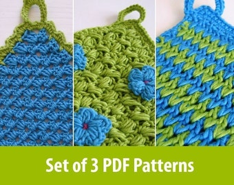 3 easy crochet patterns for pot holders or wash cloth PDF tutorials
