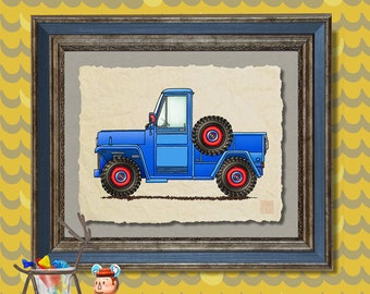 Pickup truck art vintage jeep Whimsical vehicle print adds to kids room man cave transportation art as 8x10 or 13x19 truck wall decor