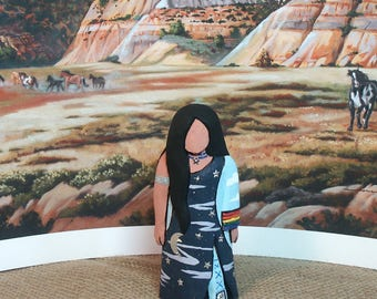 "NEW! Sky Woman Native American doll, Indian doll, 6"" shortie OOAK faceless, collectible"