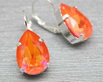 Pink Orange Earrings, Pear Dangle Drop Earrings, Neon Modern Jewelry Gold Silver, Swarovski Crystal, Bridal, Bridesmaids, Wedding Jewelry,