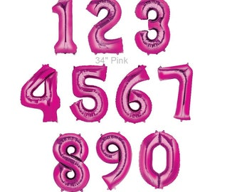 "Giant  34"" Pink Number  Mylar Foil Balloon Birthday Party ""Same Day Shipping"""