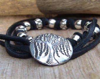 Silver Tree Bracelet, Leather Wrap Bracelet, Leather Beaded Bracelet, Botanical Bracelet, Boho Wrap Bracelet, Willow Bracelet