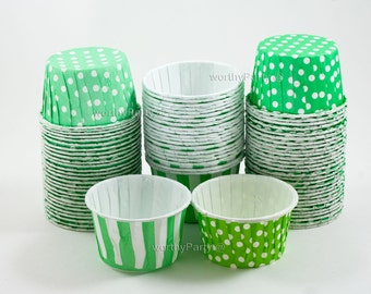 GREEN MINT LIME Polka Dots/ Stripes Candy Nut Portion Cups- Greaseproof Cupcake/Muffin Baking Cups (24 Count)