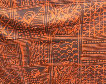 Adire Jersey, Adire fabric, Stretchy fabric, african wax, African batik, Orange, Navy blue,Indigo, Hand dyed, Hand made, textile,
