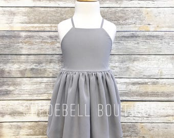 Gray flower girls dress - Gray toddler dress - Chiffon flower girl dress - Gray Chiffon girl dress - Modern girls dress - Grey Wedding