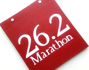 Race Bib Holder - 26.2 Marathon Cover - Hand-bound Book for Runners