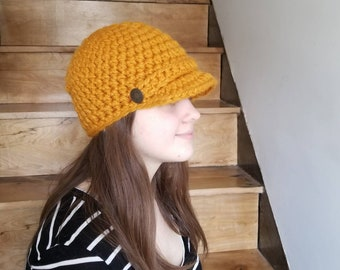 Newsboy Cap / Handmade / Hat with visor / hat with brim / warm winter hat / ready to ship / Wool / Acrylic / Butterscotch / Yellow