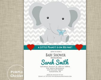 A Little Peanut Elephant Boy Baby Shower Invitation Teal 5x7 Gray Chevron Hearts Butterfly Trendy Modern Printable JPEG file 3a