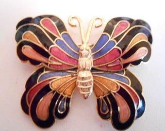Vintage brooch, butterfly brooch, enamel brooch, figural brooch, plique-a-jour enamel, 1970s brooch, vintage jewelry, insect brooch