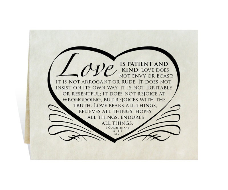 Wedding Card Program Invitation Love Is Patient And Kind