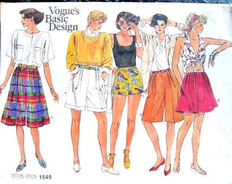 shorts, skort, culottes, gauchos, bermuda shorts with pleated fly front & pockets, long shorts vintage 80s Vogue 1549 women medium 12