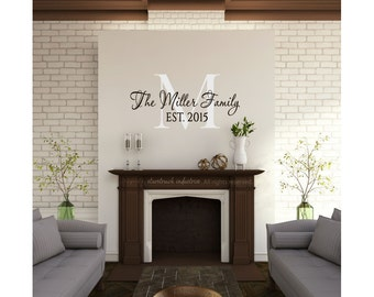 "22""h Personalized Family Last Name Wall Decal - Custom Home Decor Wall Art - Unique Housewarming Wedding Bridal Shower Christmas Gift Idea"