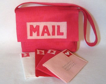Mail Set with Working Envelopes for Pretend Play, Hot Pink Mail Bag with Matching, Working Envelopes