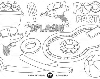 50% OFF SALE! Pool Party Digital Stamps, Water Balloons Line Art, Water Guns Clip Art - Commercial Use, Instant Download
