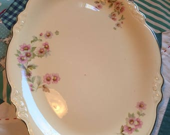 Vintage Large Serving Platter Fluffy Rose Pink Rose Virginia Rose Homer Laughlin Made in The USA