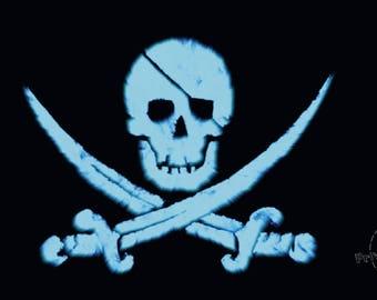 Jolly Roger Glow in the Dark! FOSFORESCENTE Pirate Art, Black Sail, Nautical Art, Minimalist Art, Wall Decor. Spectacular gift!