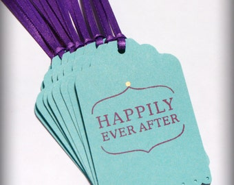 Happily Ever After Wedding tag Wish Tree Blank purple teal bridal shower Ready to Ship