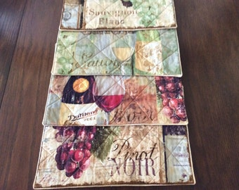 Wine placemats, set of 4
