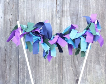 SAMPLE SALE Colorful Fabric Banner Cake Topper (free shipping!)