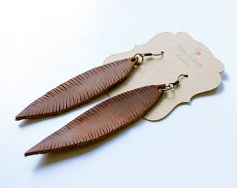 Distressed leather earrings, feather earrings, leather earrings