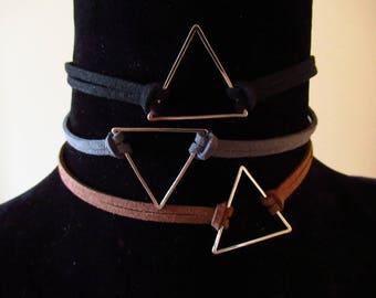 Triangle choker , geometric choker, faux suede choker black,brown,grey, vegan friendly