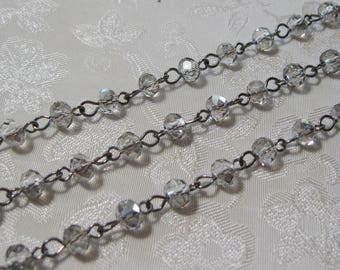 "One Meter 39.5"" Gray Transparent Faceted Rondelle Glass 4 x 6mm Beaded Rosary Link Chain Gunmetal Silver 994-04"