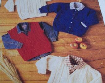 knitting pattern boys jumper , jacket, waistcoat and cardigan  double knit wool