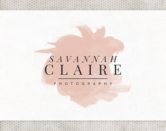 Premade Logo Design | Photography Logo | Minimalist Design | Watercolor Logo | Blush and Gray | Black and Pink | Premade Blog Header